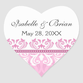 Romantic pink lace damask wedding stickers
