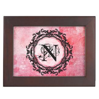 Romantic Pink Old Rose Chic Pattern Keepsake Box