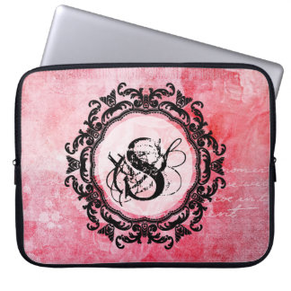 Romantic Pink Old Rose Chic Pattern Laptop Sleeve