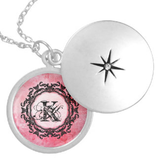 Romantic Pink Old Rose Chic Pattern Locket Necklace