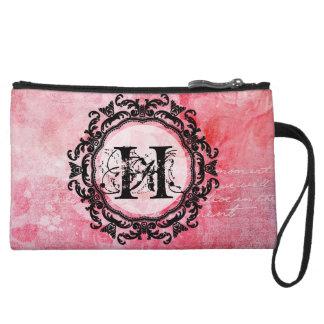 Romantic Pink Old Rose Chic Pattern Wristlet