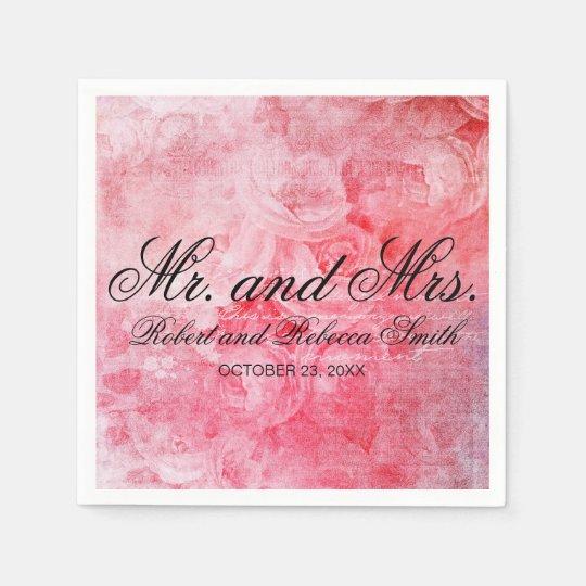 Romantic Pink Old Rose Rustic Disposable Serviette