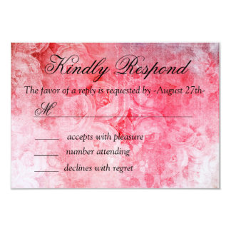 Romantic Pink Old Rose Rustic Wedding RSVP Card