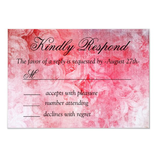 Romantic Pink Old Rose Rustic Wedding RSVP Card