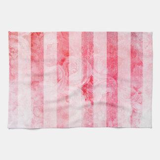 Romantic Pink Old Rose Stripe Pattern Tea Towel