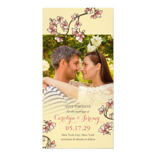 Romantic Pink Peach Blossoms Save The Date Card Photo Card Template
