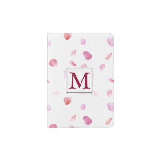 Romantic Pink Peach Rose Petals Monogram Passport Holder