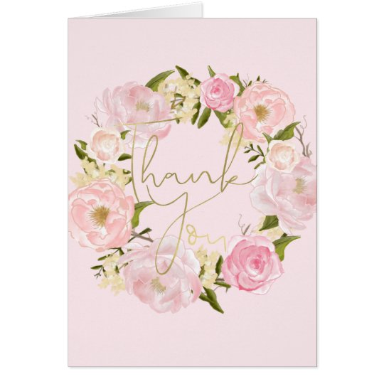 Romantic Pink Peonies Floral Gold Thank You Card