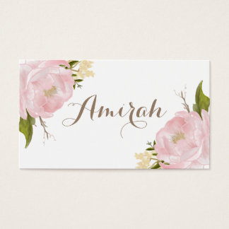 Romantic Pink Peonies Wreath DIY Place Cards
