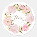 Romantic Pink Peonies Wreath Personalised Round Sticker