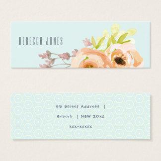 ROMANTIC PINK PURPLE BLUE FLORAL MONOGRAM ADDRESS MINI BUSINESS CARD