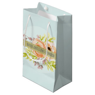 ROMANTIC PINK, PURPLE, BLUE FLORAL MONOGRAM SMALL GIFT BAG