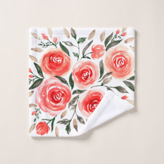 Romantic Pink Red Watercolor Roses Floral Wash Cloth