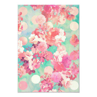 Romantic Pink Retro Floral Pattern Teal Polka Dots 9 Cm X 13 Cm Invitation Card