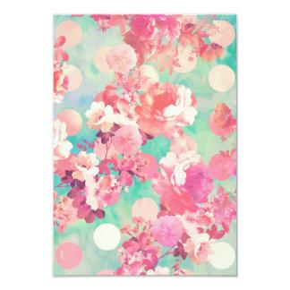 Romantic Pink Retro Floral Pattern Teal Polka Dots 9 Cm X 13 Cm Invitation Card