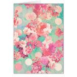 Romantic Pink Retro Floral Pattern Teal Polka Dots Greeting Card