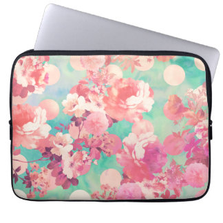 Romantic Pink Retro Floral Pattern Teal Polka Dots Laptop Sleeves