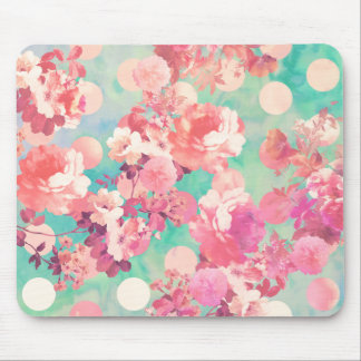 Romantic Pink Retro Floral Pattern Teal Polka Dots Mouse Mat