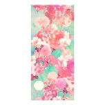 Romantic Pink Retro Floral Pattern Teal Polka Dots Rack Card Template