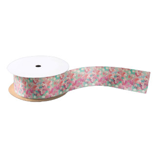 Romantic Pink Retro Floral Pattern Teal Polka Dots Satin Ribbon