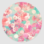 Romantic Pink Retro Floral Pattern Teal Polka Dots Round Stickers