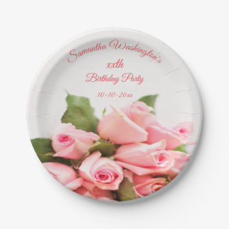 Romantic Pink Rose Bouquet  Birthday Paper Plate