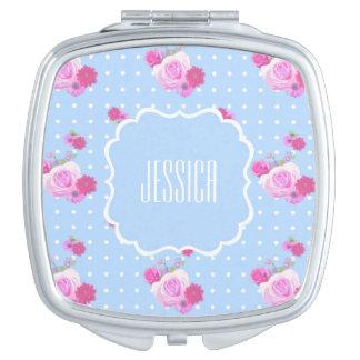 Romantic Pink Rose Custom Name Compact Mirror