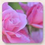 Romantic Pink Rose Floral Beverage Coasters