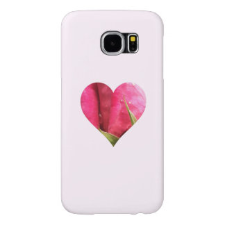 Romantic Pink Rose Heart Samsung Galaxy S6 Cases