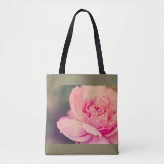 Romantic pink rose tote bag