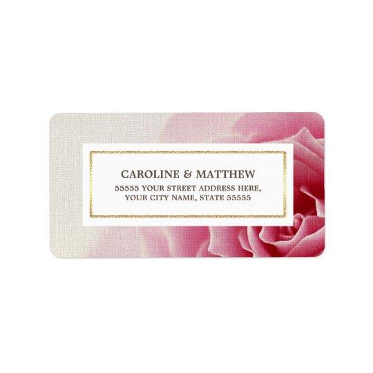 Romantic Pink Rose Wedding Return Address Labels