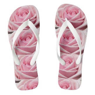 Romantic Pink Roses Design Flip Flops