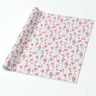 Romantic Pink Roses Feminine Pretty Pattern Wrap Wrapping Paper