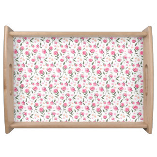 Romantic Pink Roses Feminine Pretty Serving Tray