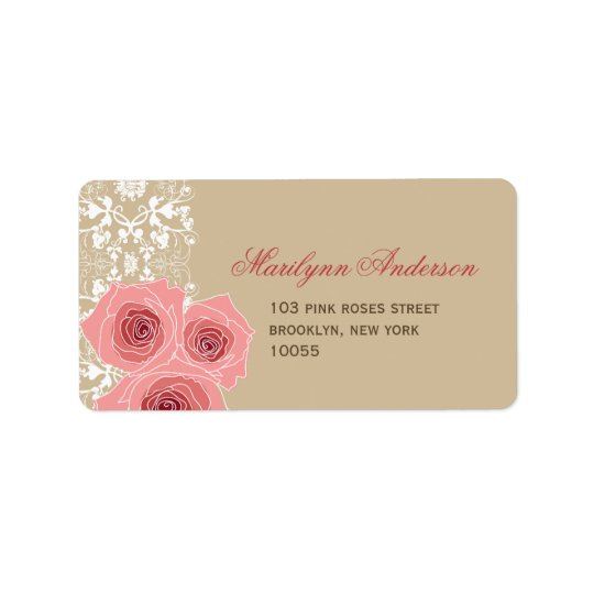 Romantic Pink Roses & Lace Wedding Address Labels