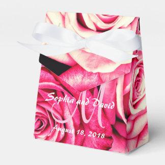 Romantic Pink Roses Monogram Wedding Favour Box