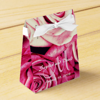 Romantic Pink Roses Monogram Wedding Favour Boxes