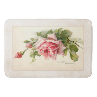 Romantic Pink Roses on Artisan Background Bath Mat
