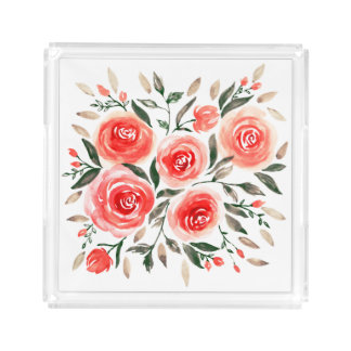 Romantic Pink Roses Watercolor Floral Acrylic Tray