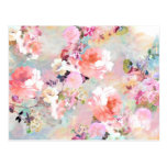 Romantic Pink Teal Watercolor Chic Floral Pattern