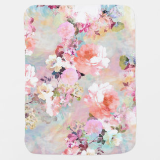 Romantic Pink Teal Watercolor Chic Floral Pattern Baby Blanket