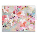 Romantic Pink Teal Watercolor Chic Floral Pattern Big Greeting Card