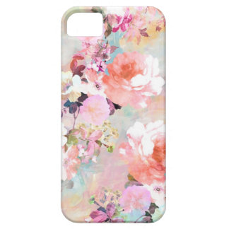 Romantic Pink Teal Watercolor Chic Floral Pattern Case For The iPhone 5