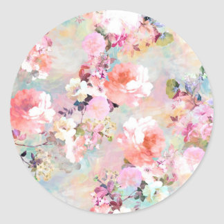 Romantic Pink Teal Watercolor Chic Floral Pattern Classic Round Sticker