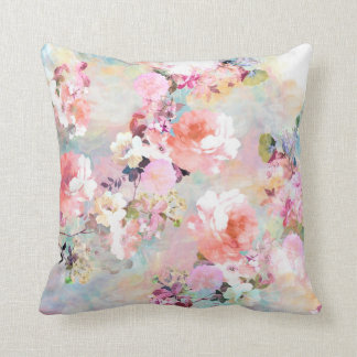 Romantic Pink Teal Watercolor Chic Floral Pattern Cushion