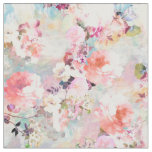 Romantic Pink Teal Watercolor Chic Floral Pattern Fabric
