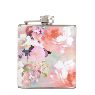 Romantic Pink Teal Watercolor Chic Floral Pattern Flasks