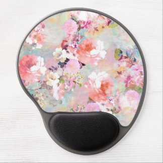 Romantic Pink Teal Watercolor Chic Floral Pattern Gel Mouse Mat