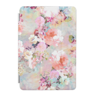 Romantic Pink Teal Watercolor Chic Floral Pattern iPad Mini Cover