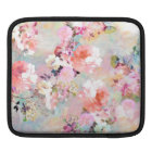 Romantic Pink Teal Watercolor Chic Floral Pattern iPad Sleeve